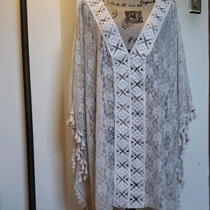 Off-white Lace Poncho Style Coverup
